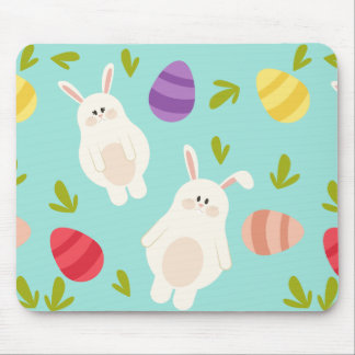 Vintage whimsical bunny and egg turquoise pattern mouse pad