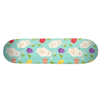 Vintage whimsical bunny and egg turquoise pattern skate boards