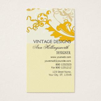 Vintage Whimsical Elegant Pale Gold  Floral Business Card