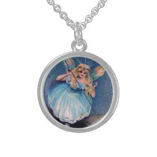Vintage whimsical Magic Wand Blue Fairy Round Pendant Necklace