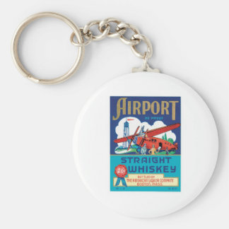 Vintage Whiskey Food Product Label Basic Round Button Key Ring