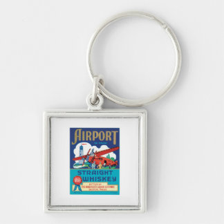 Vintage Whiskey Food Product Label Silver-Colored Square Key Ring