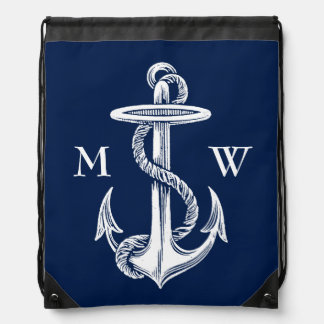 Vintage White Anchor Rope Navy Blue Background Drawstring Bag