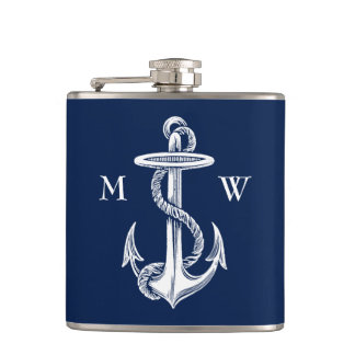 Vintage White Anchor Rope Navy Blue Background Hip Flask