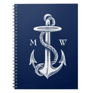Vintage White Anchor Rope Navy Blue Background Spiral Notebooks