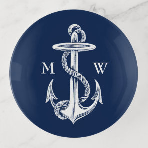 Vintage White Anchor Rope Navy Blue Monogram Trinket Trays