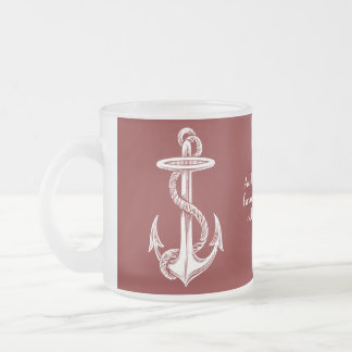 Vintage White Anchor Rope Wine Red Nautical Frosted Glass Mug