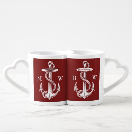 Vintage White Anchor Rope Wine Red Nautical Lovers Mug