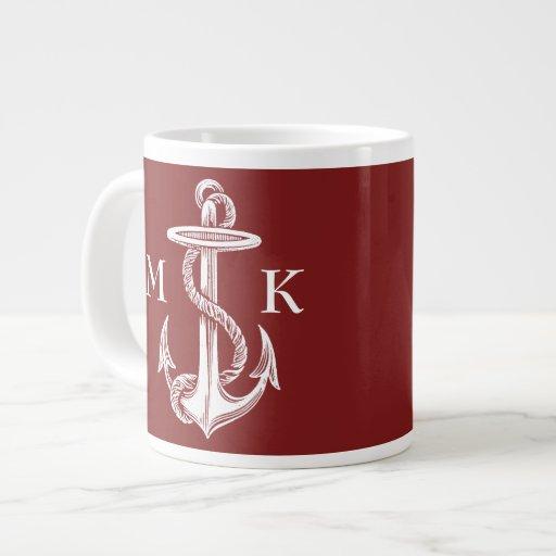 Vintage White Anchor Rope Wine Red Nautical Jumbo Mug