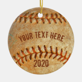 Vintage White Baseball red stitching Christmas Ornament