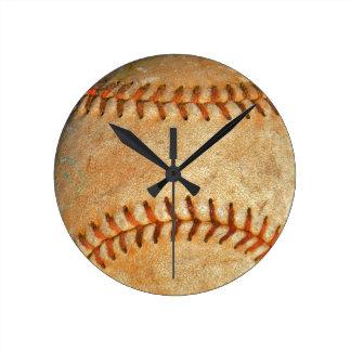 Vintage White Baseball red stitching Round Clock