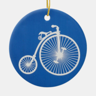 Vintage White Bicycle on Blue Christmas Ornament