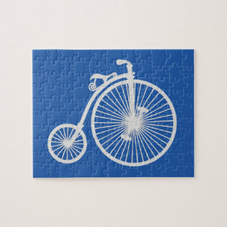 Vintage White Bicycle on Blue Jigsaw Puzzle