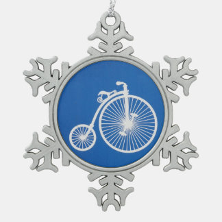 Vintage White Bicycle on Blue Snowflake Pewter Christmas Ornament