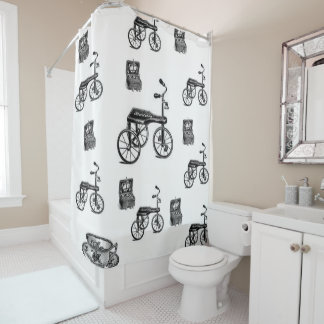 vintage white bicycle showercurtain shower curtain