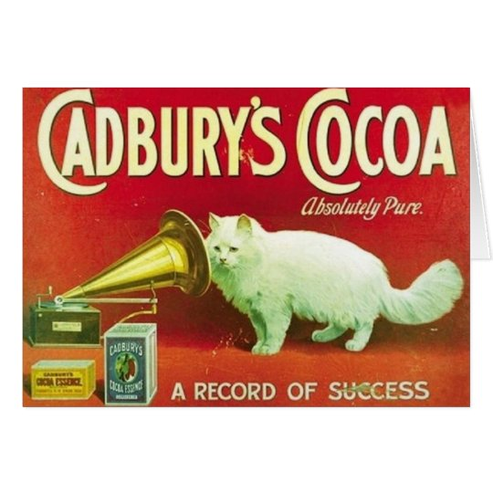 Vintage White Cat Cadbury's Cocoa Ad Note Card