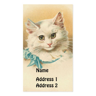 Vintage White Cat Pack Of Standard Business Cards