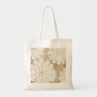 Vintage White Dahlia Floral Wedding Tote Bag
