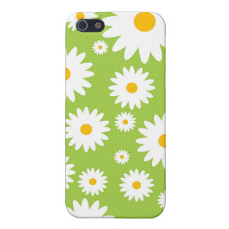 Vintage White Daisy Flowers on Green Iphone 4 Case