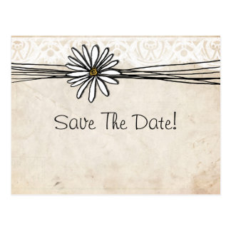 Vintage White Daisy Save The Date Post Card