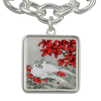 Vintage White Doves and Red Leaves on Gray / Grey
