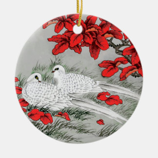 Vintage White Doves and Red Leaves on Gray / Grey Christmas Ornament