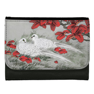 Vintage White Doves and Red Leaves on Gray / Grey Leather Wallet For Women