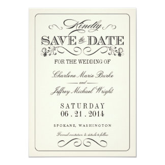 Vintage White Elegant Save the Date Card