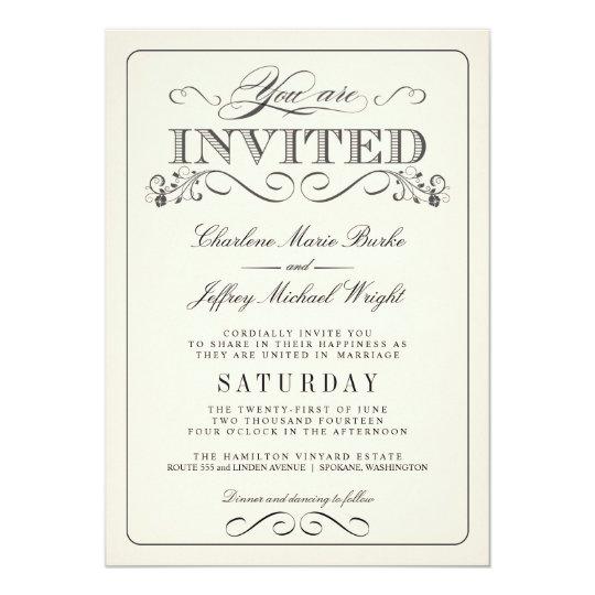 Vintage White Elegant Wedding Invitations