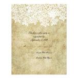 Vintage White Floral Wedding RSVP Custom Announcements