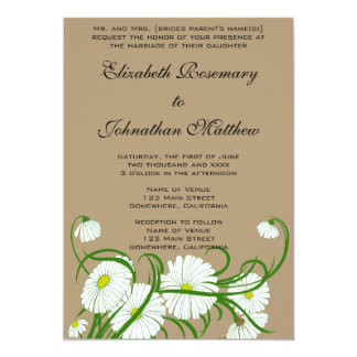 Vintage White Gerber Daisy Flowers Wedding Set 13 Cm X 18 Cm Invitation Card