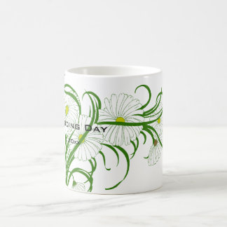 Vintage White Gerber Daisy Flowers Wedding Set Coffee Mug