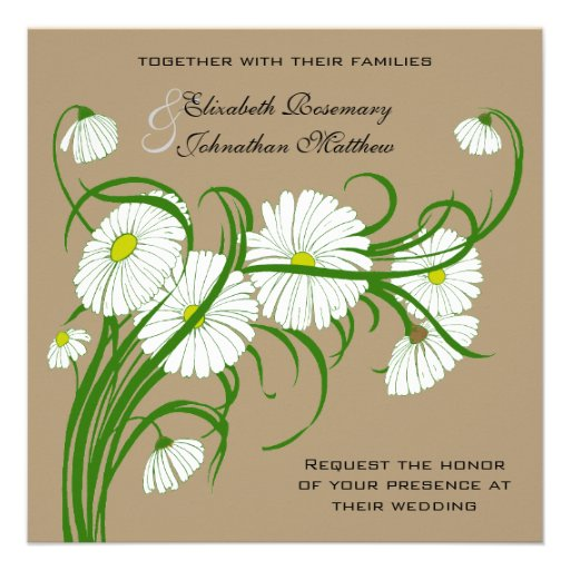 Vintage White Gerber Daisy Flowers Wedding Set Custom Invites