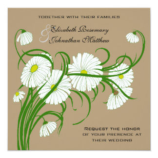 Vintage White Gerber Daisy Flowers Wedding Set 5.25x5.25 Square Paper Invitation Card