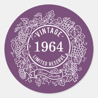 Vintage White Grapevine Wine Stamp, Add Birth Year Round Sticker