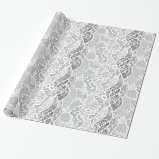 Vintage white gray floral french lace pattern wrapping paper