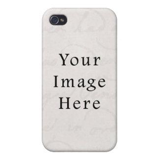 Vintage White Gray Light Text Parchment  Paper iPhone 4 Case