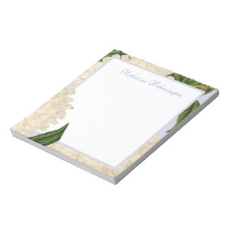 Vintage White Hydrangea Personalized Notepad
