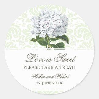 Vintage White Hydrangea Wedding Candy Buffet Sticker