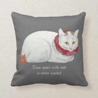 Vintage White Japanese Cat Art Throw Pillow
