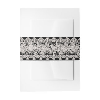 Vintage White Lace Invitation Belly Band