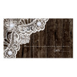 Vintage white lace on old wood wedding place card business cards