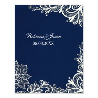 vintage white lace pattern navy blue wedding 11 cm x 14 cm invitation card