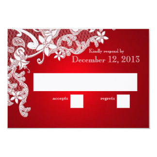 Vintage White Lace Wedding Reply Red 9 Cm X 13 Cm Invitation Card