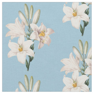Vintage White Lilies Floral Fabric