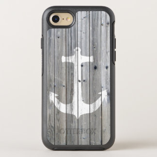 Vintage white nautical anchor on gray wood effect OtterBox symmetry iPhone 7 case