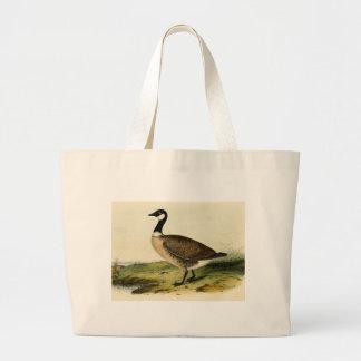 Vintage White Necked Goose Large Tote Bag
