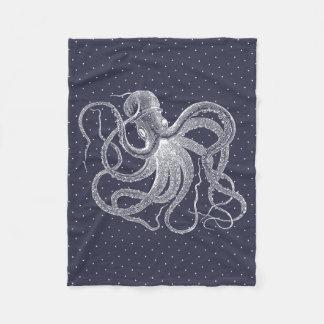 Vintage White Octopus & Dots Pattern Fleece Blanket