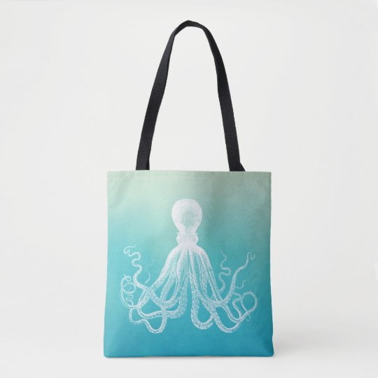 Vintage White Octopus Watercolor Aqua Blue Ombre Tote