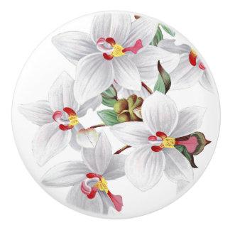Vintage White Orchid Flowers Floral Knob